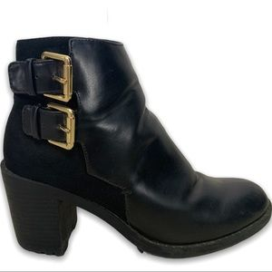 Zara Trafaluc Gold Buckle Leather/Suede Booties